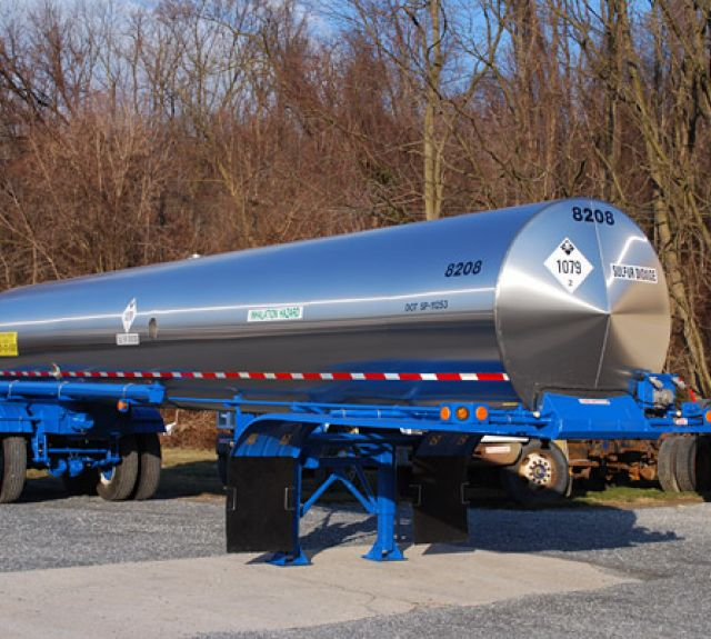 Blue and silver propane trailer